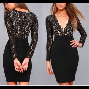 Lace Black Plunge Dress (Swooner or Later - Lulus)